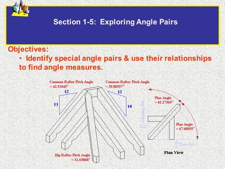 Section 1-5: Exploring Angle Pairs Objectives: Identify special angle pairs & use their relationships to find angle measures.