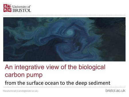 An integrative view of the biological carbon pump from the surface ocean to the deep sediment Sandra Arndt