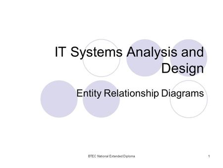 BTEC National Extended Diploma1 IT Systems Analysis and Design Entity Relationship Diagrams.