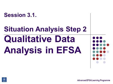 Advanced EFSA Learning Programme Session 3.1. Situation Analysis Step 2 Qualitative Data Analysis in EFSA.