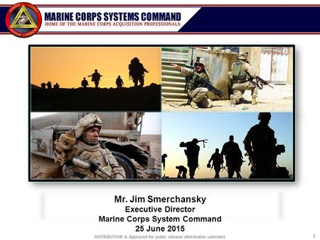 DISTRIBUTION A. Approved for public release: distribution unlimited. 11 Mr. Jim Smerchansky Executive Director Marine Corps System Command 25 June 2015.
