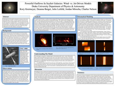 Powerful Outflows In Seyfert Galaxies: Wind- vs. Jet-Driven Models Drake University Department of Physics & Astronomy Kory Kreimeyer, Deanna Berget, Julie.