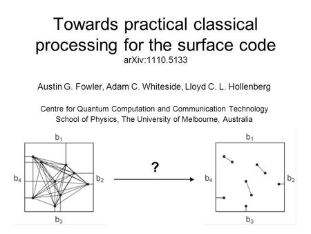 Towards practical classical processing for the surface code arXiv:1110.5133 Austin G. Fowler, Adam C. Whiteside, Lloyd C. L. Hollenberg Centre for Quantum.