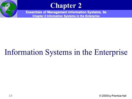 2.1 Information Systems in the Enterprise Chapter 2 Essentials of Management Information Systems, 6e Chapter 2 Information Systems in the Enterprise ©