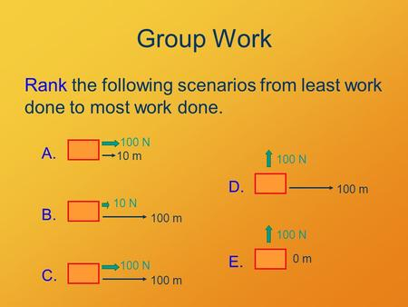 Group Work Rank the following scenarios from least work done to most work done. 10 m 100 N A. 100 m 10 N B. 100 m 100 N C. 100 N 100 m D. 100 N 0 m E.