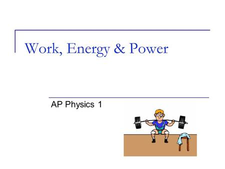 Work, Energy & Power AP Physics 1. There are many different TYPES of Energy. Energy is expressed in JOULES (J) Energy can be expressed more specifically.