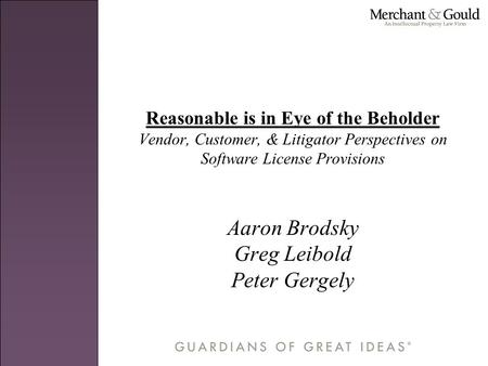 Reasonable is in Eye of the Beholder Vendor, Customer, & Litigator Perspectives on Software License Provisions Aaron Brodsky Greg Leibold Peter Gergely.