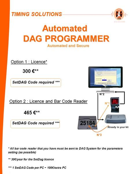 Automated DAG PROGRAMMER Option 1 : Licence* 300 €** Option 2 : Licence and Bar Code Reader SetDAG Code required *** 465 €** * All bar code reader that.