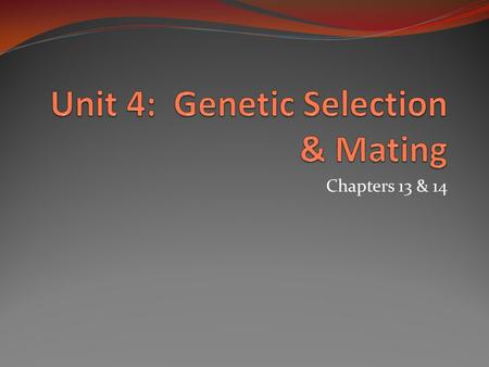 Chapters 13 & 14. Objectives Understanding of the concept of genetic variation Knowledge of quantitative vs. qualitative traits Appreciation for genetic.