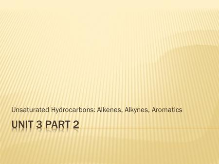 Unsaturated Hydrocarbons: Alkenes, Alkynes, Aromatics.