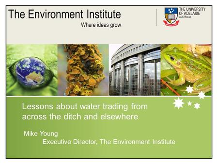 The Environment Institute Where ideas grow Lessons about water trading from across the ditch and elsewhere Mike Young Executive Director, The Environment.