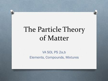 The Particle Theory of Matter VA SOL PS 2a,b Elements, Compounds, Mixtures.