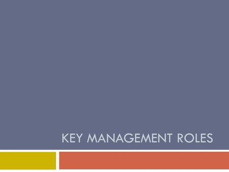 KEY MANAGEMENT ROLES. POLC  There are four key management roles.  Say in your head 5 times: management roles = POLC.  DO NOT FORGET THIS!  Very easy.