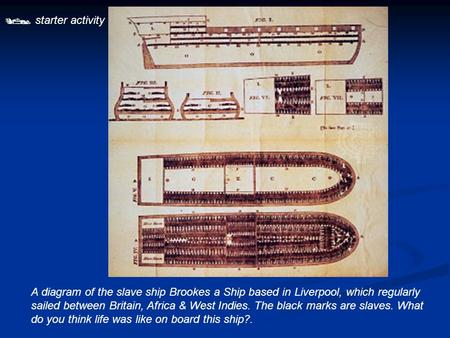  starter activity A diagram of the slave ship Brookes a Ship based in Liverpool, which regularly sailed between Britain, Africa & West Indies. The black.
