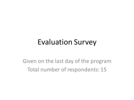 Evaluation Survey Given on the last day of the program Total number of respondents: 15.