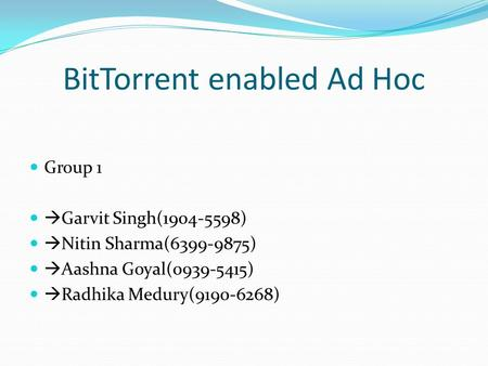 BitTorrent enabled Ad Hoc Group 1  Garvit Singh(1904-5598)  Nitin Sharma(6399-9875)  Aashna Goyal(0939-5415)  Radhika Medury(9190-6268)