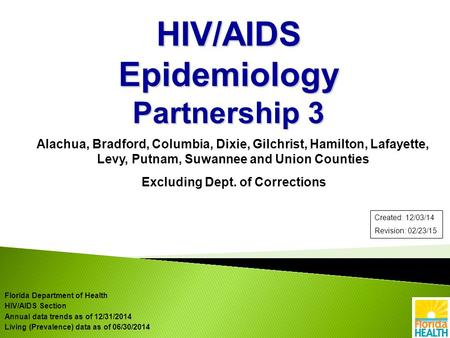 Alachua, Bradford, Columbia, Dixie, Gilchrist, Hamilton, Lafayette, Levy, Putnam, Suwannee and Union Counties Excluding Dept. of Corrections HIV/AIDS Epidemiology.