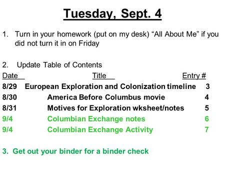"Tuesday, Sept. 4 1.Turn in your homework (put on my desk) ""All About Me"" if you did not turn it in on Friday 2. Update Table of Contents DateTitleEntry."