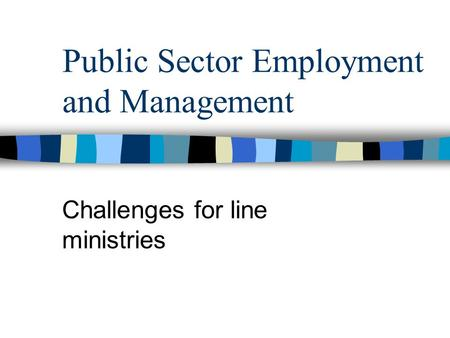Public Sector Employment and Management Challenges for line ministries.