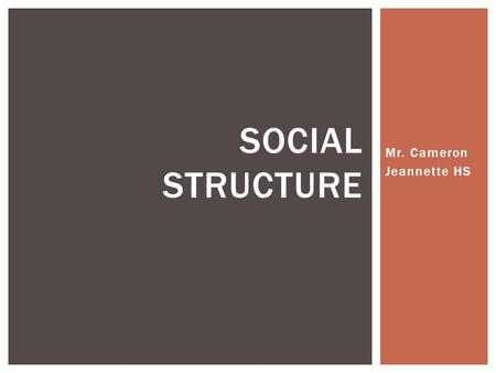 Mr. Cameron Jeannette HS SOCIAL STRUCTURE.  Sociologists have often viewed society as a system of interrelated parts, or as a structure  Social structure.