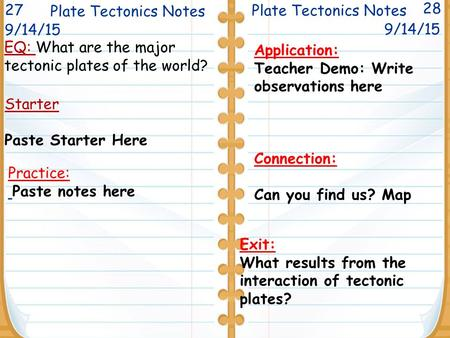 EQ: What are the major tectonic plates of the world? Plate Tectonics Notes 28 Starter Paste Starter Here Plate Tectonics Notes 9/14/15 Application: Teacher.