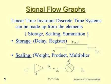Professor A G Constantinides 1 Signal Flow Graphs Linear Time Invariant Discrete Time Systems can be made up from the elements { Storage, Scaling, Summation.