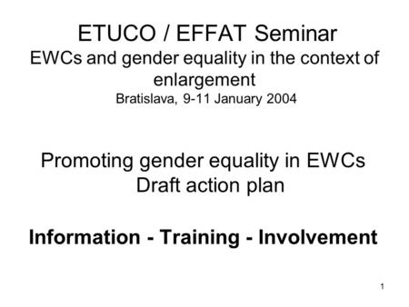 1 ETUCO / EFFAT Seminar EWCs and gender equality in the context of enlargement Bratislava, 9-11 January 2004 Promoting gender equality in EWCs Draft action.
