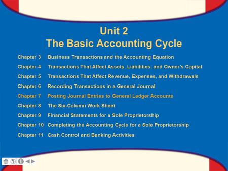 0 Glencoe Accounting Unit 2 Chapter 7 Copyright © by The McGraw-Hill Companies, Inc. All rights reserved. Unit 2 The Basic Accounting Cycle Chapter 3 Business.