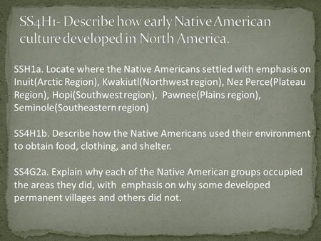 SSH1a. Locate where the Native Americans settled with emphasis on Inuit(Arctic Region), Kwakiutl(Northwest region), Nez Perce(Plateau Region), Hopi(Southwest.