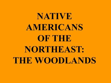 NATIVE AMERICANS OF THE NORTHEAST: THE WOODLANDS.