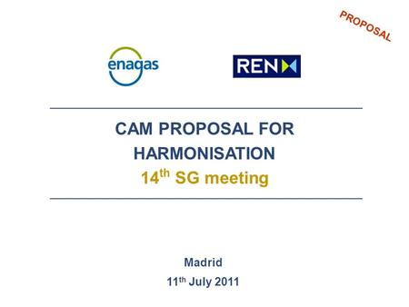 PROPOSAL CAM PROPOSAL FOR HARMONISATION 14 th SG meeting Madrid 11 th July 2011.
