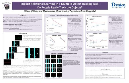 Implicit Relational Learning in a Multiple-Object Tracking Task: Do People Really Track the Objects? Tiffany Williams and Olga Lazareva (Department of.