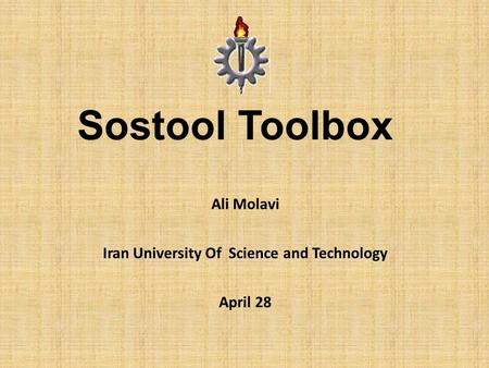 Ali Molavi Iran University Of Science and Technology April 28