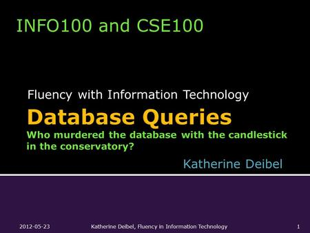 Fluency with Information Technology INFO100 and CSE100 Katherine Deibel 2012-05-23Katherine Deibel, Fluency in Information Technology1.