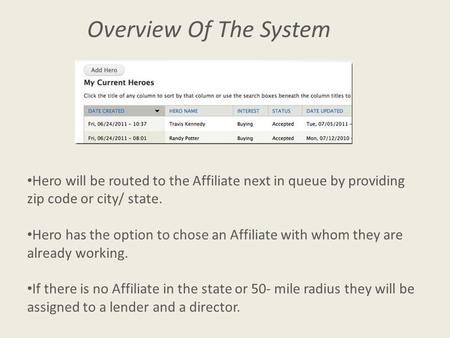 Overview Of The System Hero will be routed to the Affiliate next in queue by providing zip code or city/ state. Hero has the option to chose an Affiliate.