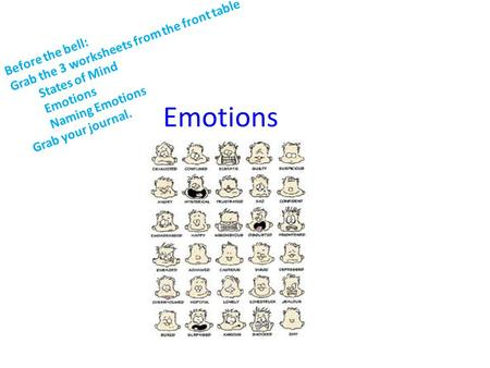 Emotions Before the bell: Grab the 3 worksheets from the front table States of Mind Emotions Naming Emotions Grab your journal.