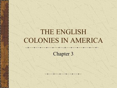 THE ENGLISH COLONIES IN AMERICA Chapter 3 Sir Walter Raleigh Named the land in North America he claimed for England Virginia For Queen Elizabeth-the.