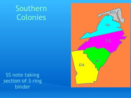 Southern Colonies SS note taking section of 3 ring binder.