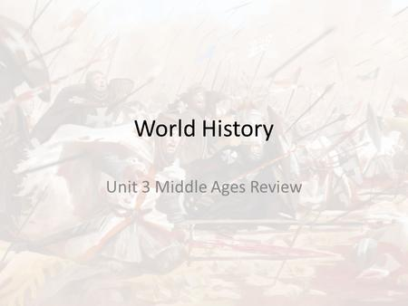 World History Unit 3 Middle Ages Review. Unit 3 Review 1. What was the chief goal of the Crusades? a. to spread Christianity throughout Europe, Asia,