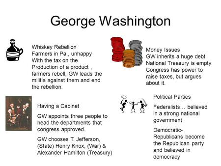 George Washington Whiskey Rebellion Farmers in Pa., unhappy With the tax on the Production of a product, farmers rebell, GW leads the militia against.