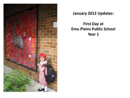 January 2012 Updates: First Day at Emu Plains Public School Year 1.