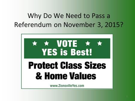 Why Do We Need to Pass a Referendum on November 3, 2015? 1.