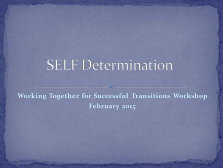 Working Together for Successful Transitions Workshop February 2015.