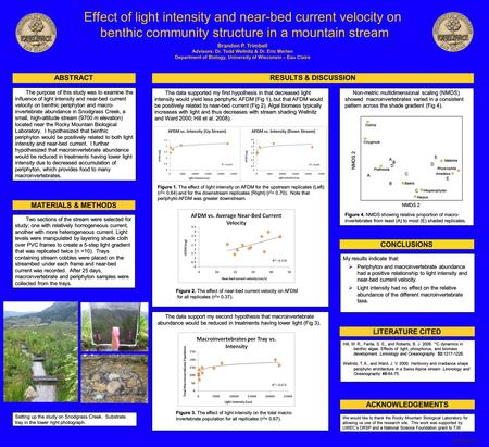 Printed by www.postersession.com My results indicate that:  Periphyton and macroinvertebrate abundance had a positive relationship to light intensity.