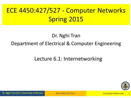 ECE 4450:427/527 - Computer Networks Spring 2015 Dr. Nghi Tran Department of Electrical & Computer Engineering Lecture 6.1: Internetworking Dr. Nghi Tran.