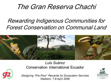 The Gran Reserva Chachi Rewarding Indigenous Communities for Forest Conservation on Communal Land Luis Suárez Conservation International Ecuador Designing.