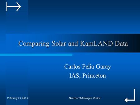 February 23, 2005Neutrino Telescopes, Venice Comparing Solar and KamLAND Data Comparing Solar and KamLAND Data Carlos Pena Garay IAS, Princeton ~