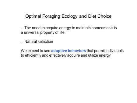 Optimal Foraging Ecology and Diet Choice -- The need to acquire energy to maintain homeostasis is a universal property of life -- Natural selection We.