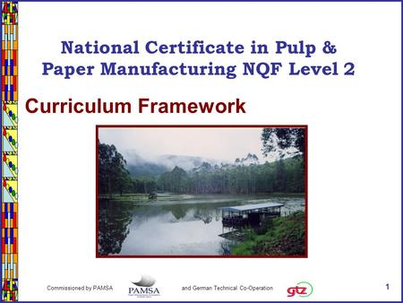 1 Commissioned by PAMSA and German Technical Co-Operation National Certificate in Paper & Pulp Manufacturing NQF Level 2 Curriculum Framework National.