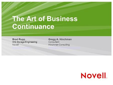 The Art of Business Continuance Brad Rupp WG Storage Engineering Novell  Gregg A. Hinchman Consultant Hinchman Consulting.
